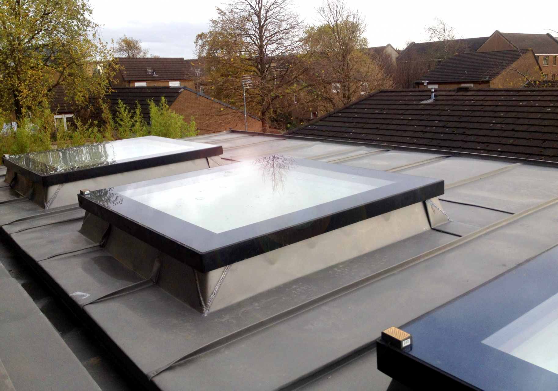 Flat roof windows in extension